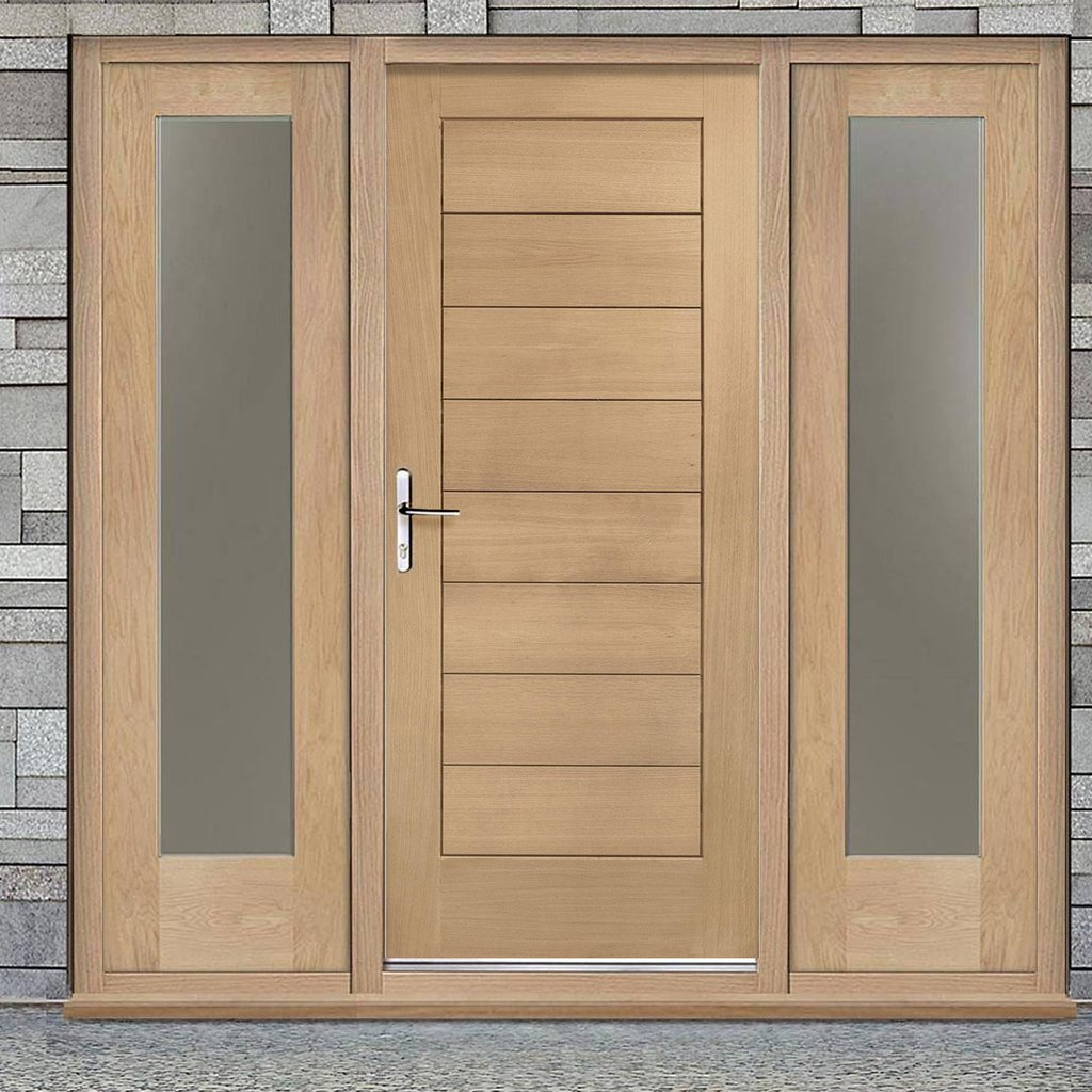Modena Exterior Flush Oak Door and Frame Set - Two Side Screens - Frosted Double Glazing