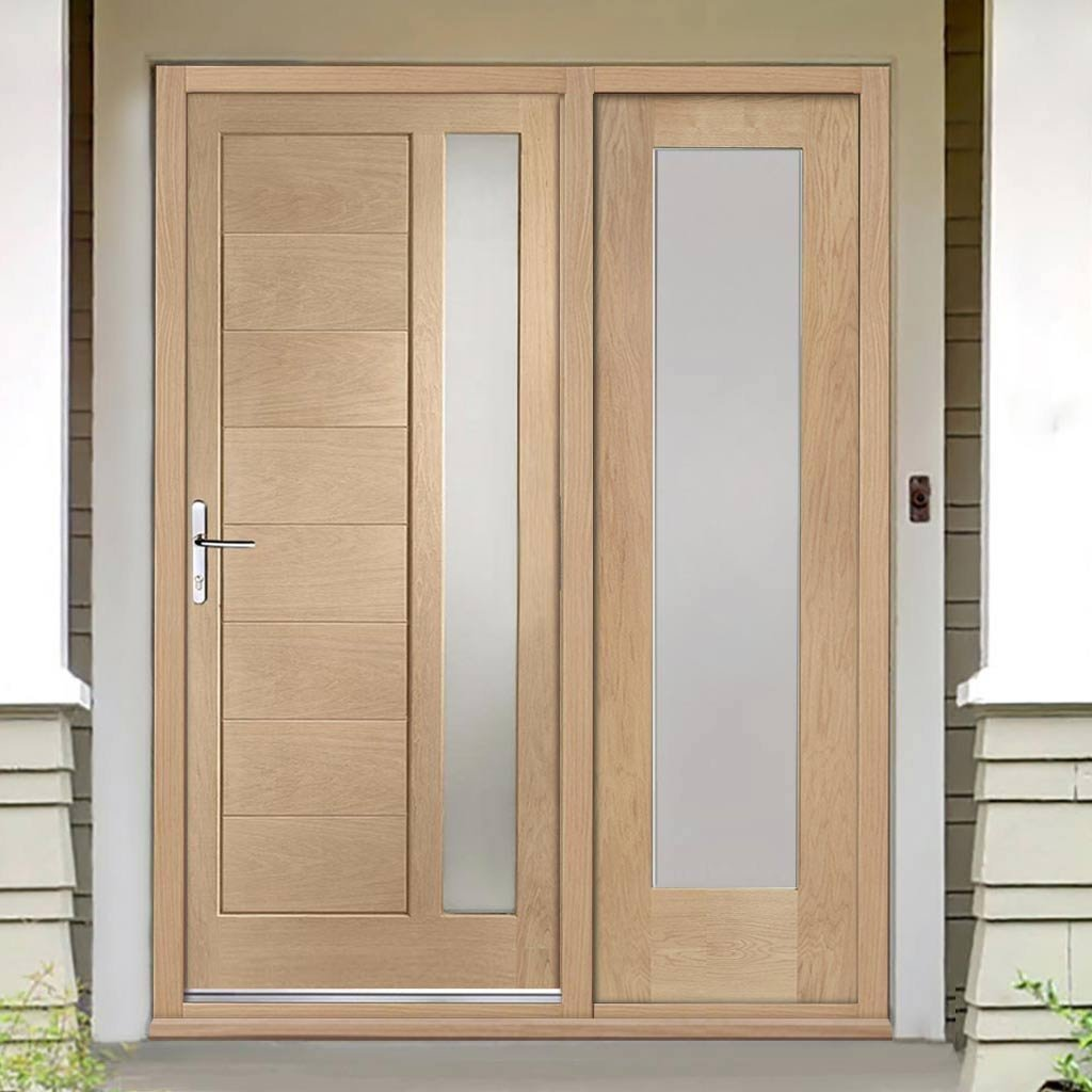 Modena Exterior Oak Door And Frame Set One Side Screen Frosted Dou