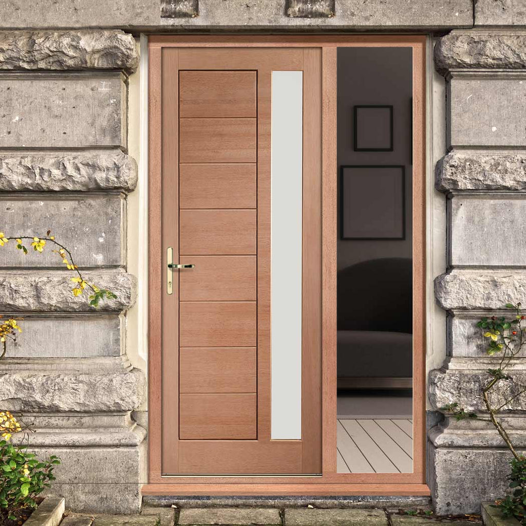 Modena Exterior Mahogany Door and Frame Set - Frosted Double Glazing - One Unglazed Side Screen
