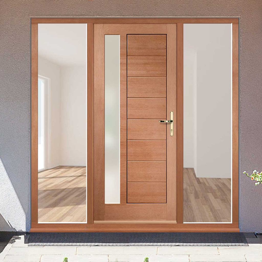 Modena Exterior Mahogany Door and Frame Set - Frosted Double Glazing - Two Unglazed Side Screens