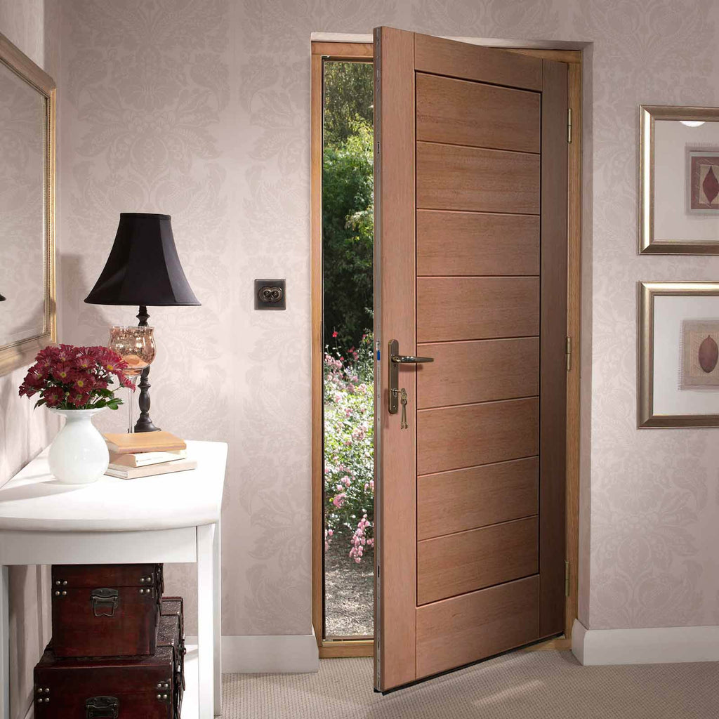 Modena External Mahogany Door and Frame Set - Horizontal Lining
