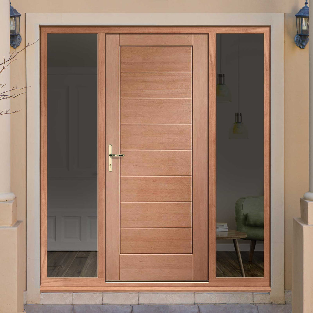 Modena External Mahogany Door and Frame Set - Horizontal Lining - Two Unglazed Side Screens