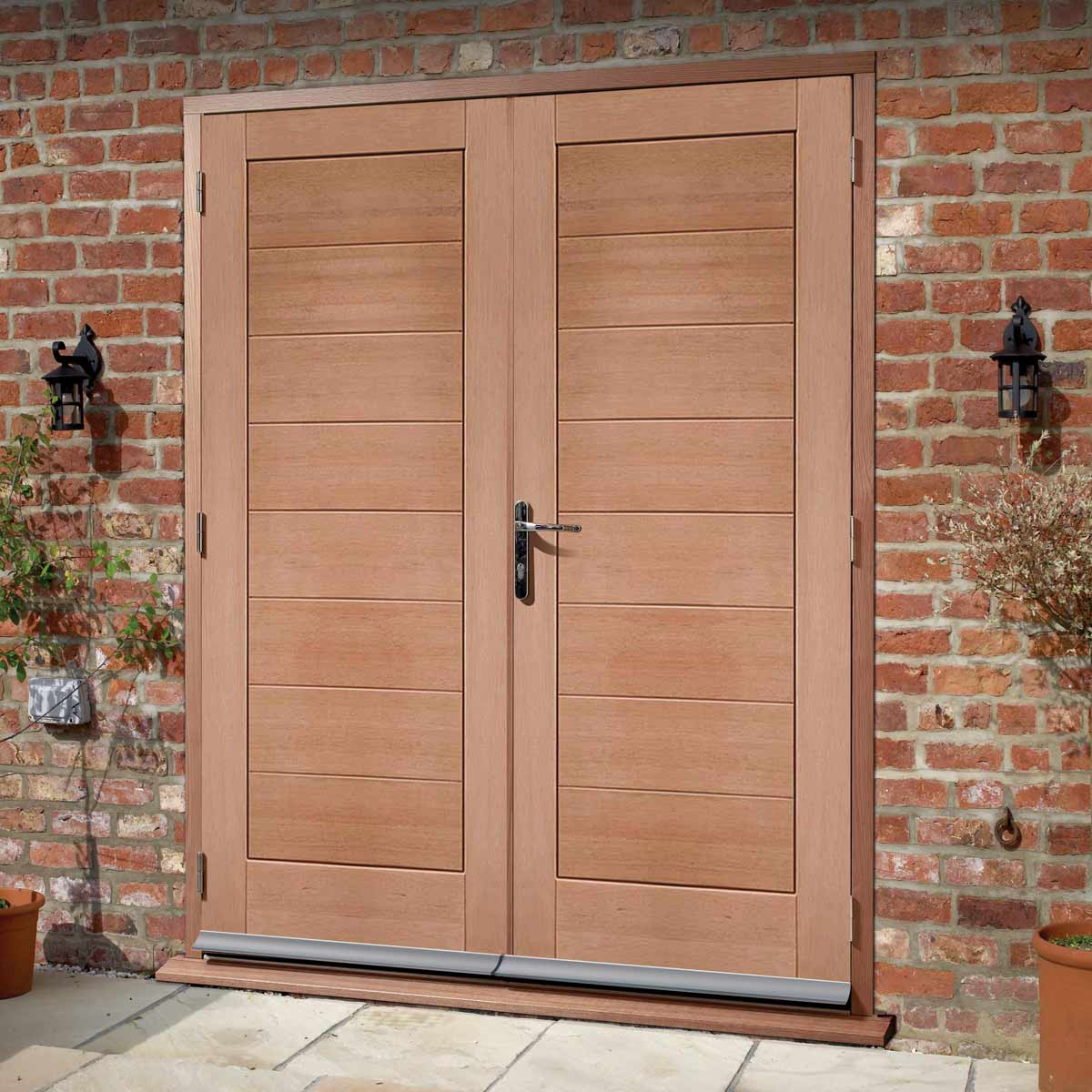 Modena External Mahogany Double Door and Frame Set - Horizontal Lining