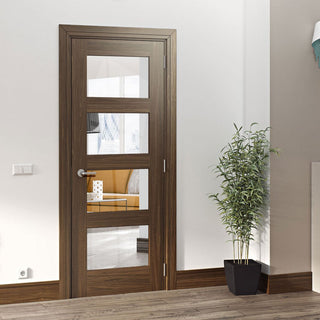Image: Deanta Coventry Prefinished Walnut Shaker Style Door with Clear Safety Glass
