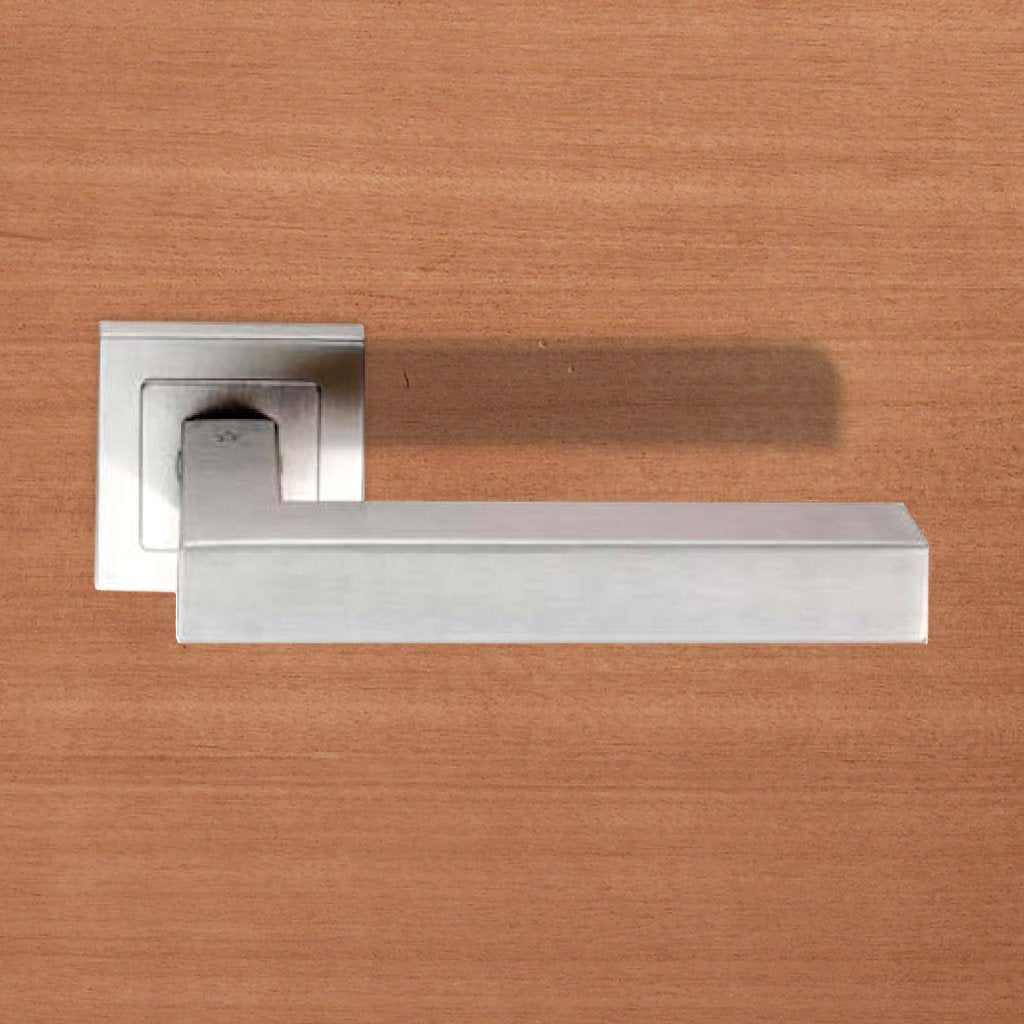Steelworx SSL1401 Lever Latch Handles on Square Sprung Rose