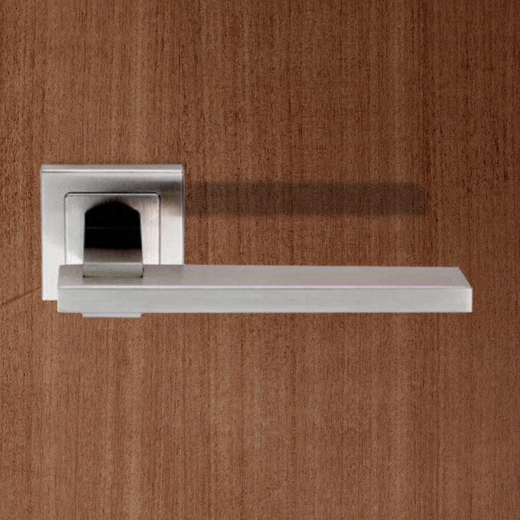 Steelworx SSL1402 Lever Latch Handles on Square Sprung Rose