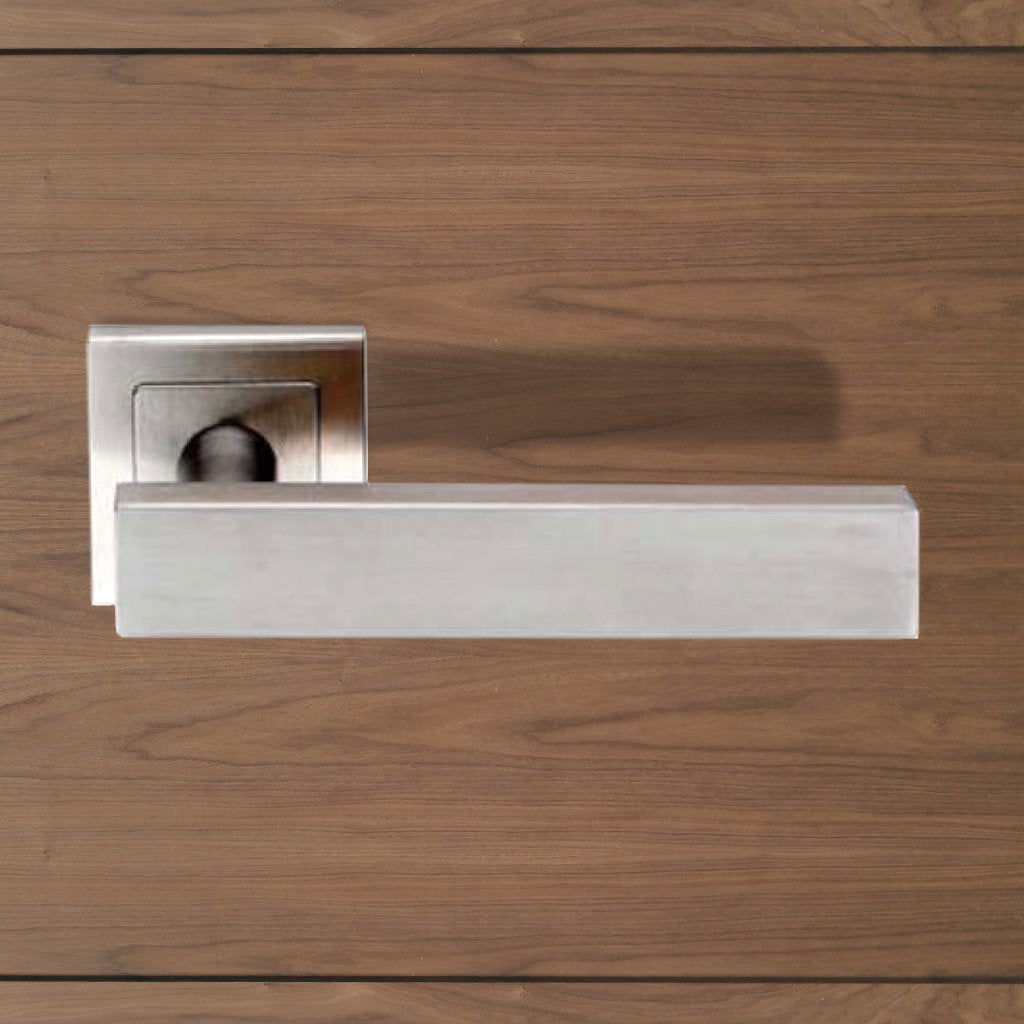Steelworx SSL1403 Lever Latch Handles on Square Sprung Rose