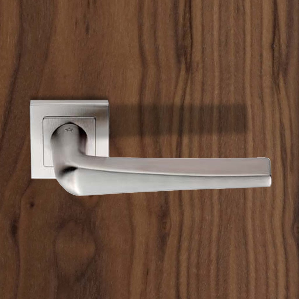 Steelworx SSL1404 Lever Latch Handles on Square Sprung Rose