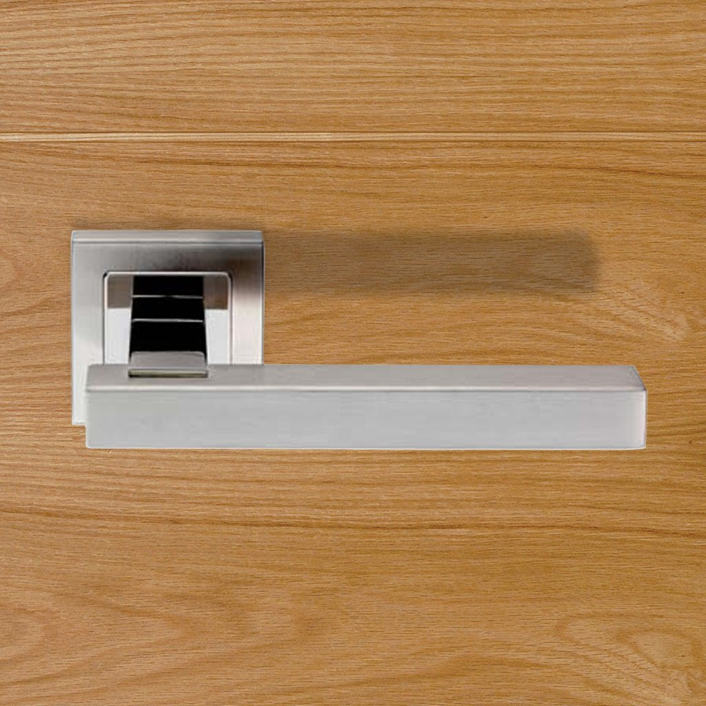 Steelworx SSL1405 Lever Latch Handles on Square Sprung Rose