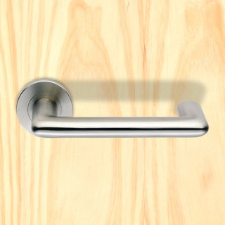 Image: Steelworx SW140 Designer DDA Compliant Lever Latch Handles on Round Rose