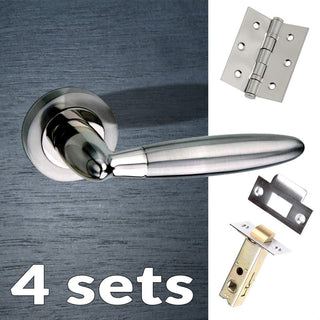 Image: Four Pack Gibraltar Mediterranean Lever On Rose - Satin Nickel Handle