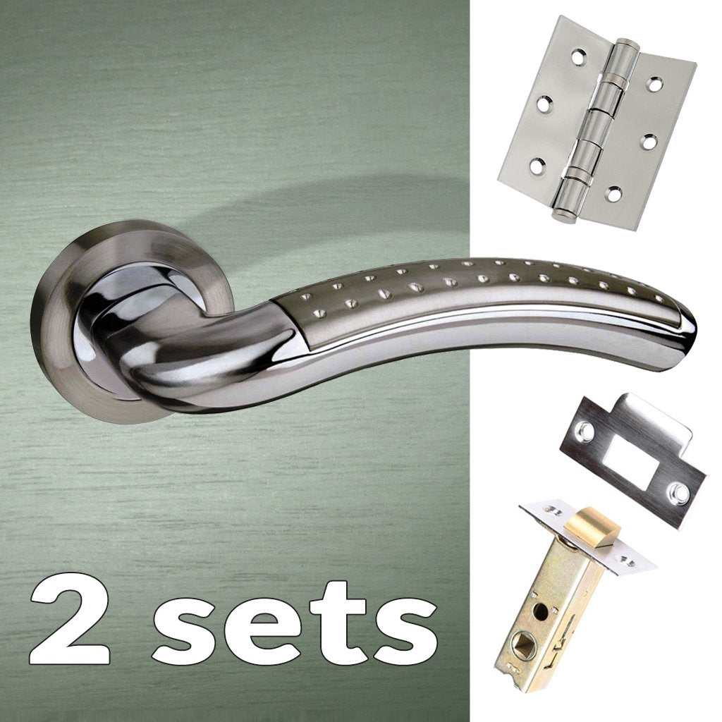 Two Pack Monaco Mediterranean Lever On Rose - Satin Nickel - Polished Chrome Handle