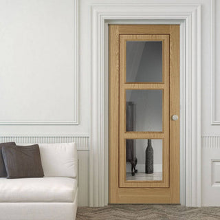 Image: Oak 3 Pane Inlay Flush Door - Clear Glass - Prefinished