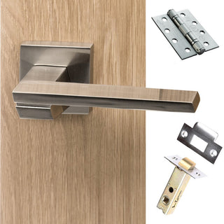 Image: Senza Pari Giovanni Fire Lever on Flush Rose - Satin Nickel Handle Pack