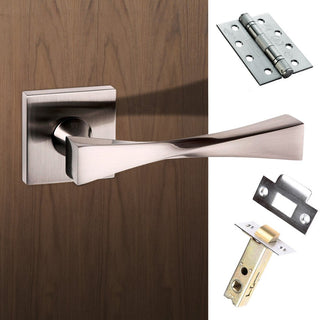 Image: Senza Pari Guido Fire Lever on Flush Rose - Satin Nickel Handle Pack