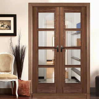 Image: LPD Joinery Bespoke Fire Door Pair, Vancouver Walnut 4L Pair - 1/2 Hour Fire Rated - Clear Glass - Prefinished
