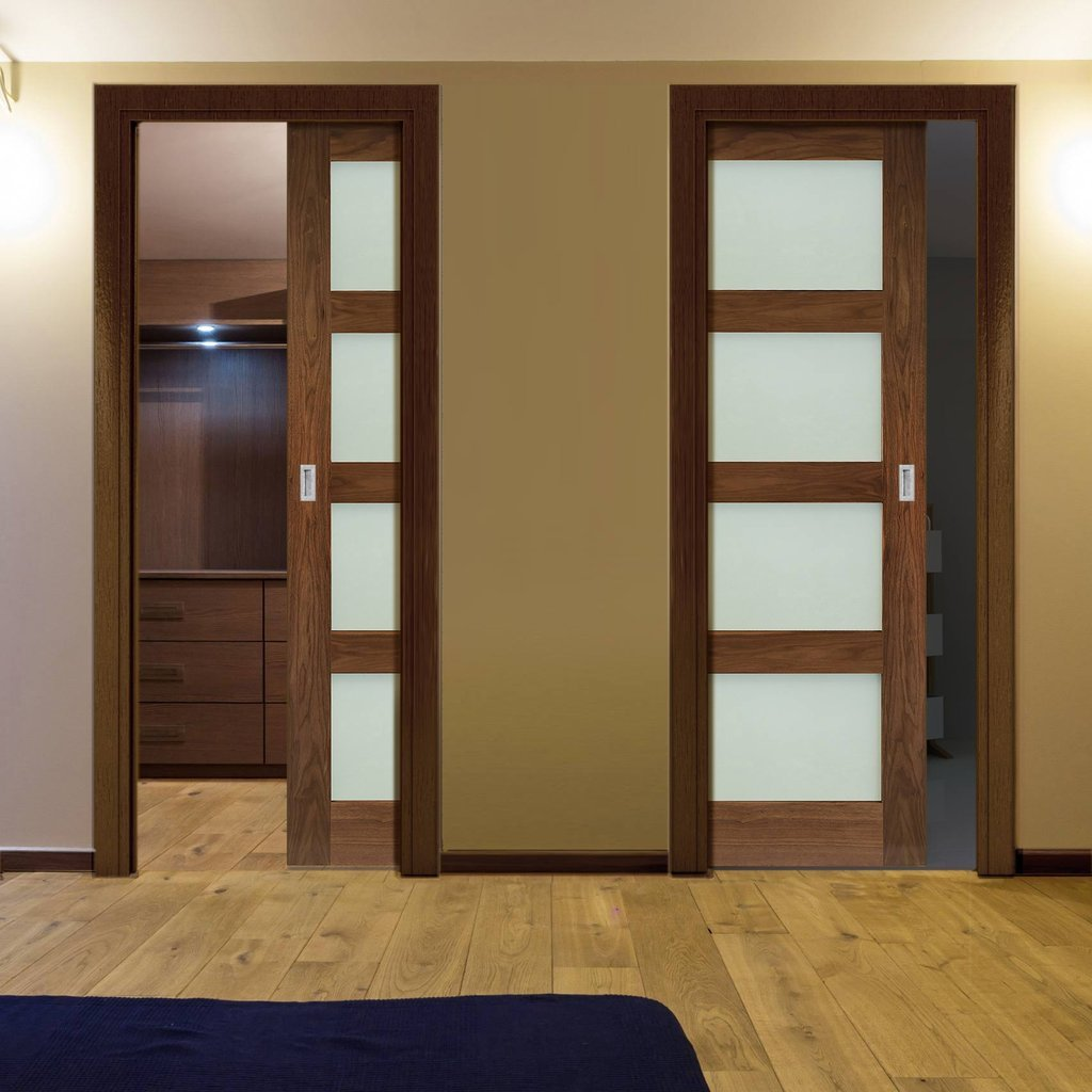 Coventry Walnut Shaker Style Unico Evo Pocket Doors - Frosted Glass - Prefinished