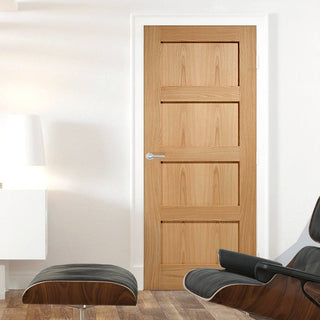 Image: Bespoke Contemporary 4P Oak Fire Door - 1/2 Hour Fire Rated
