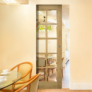Image: Bristol Oak Absolute Evokit Single Pocket Door - 10 Pane Clear Bevelled Glass - Unfinished