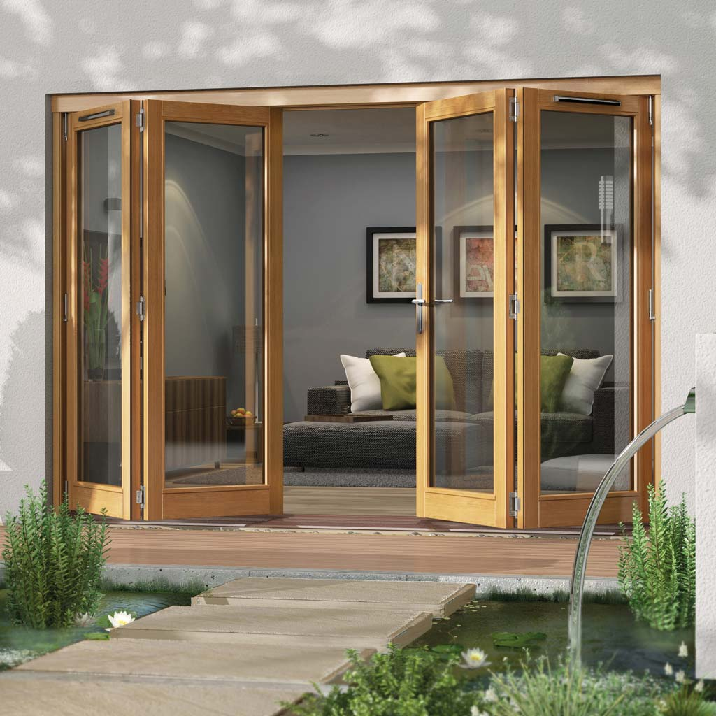 Jeld-Wen Canberra Stained Oak Fold and Slide Solid Patio Doorset, OCAN30 2L2R, 2 Left - 2 Right, 2994mm Wide