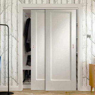 Image: Thruslide Pattern 10 Style 1P 2 Door Wardrobe and Frame Kit - White Primed