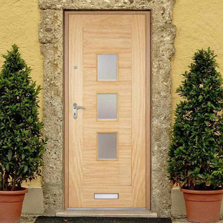 Image: Part L Compliant Arta Oak Door - Frosted Double Glazing - Warmerdoor Style