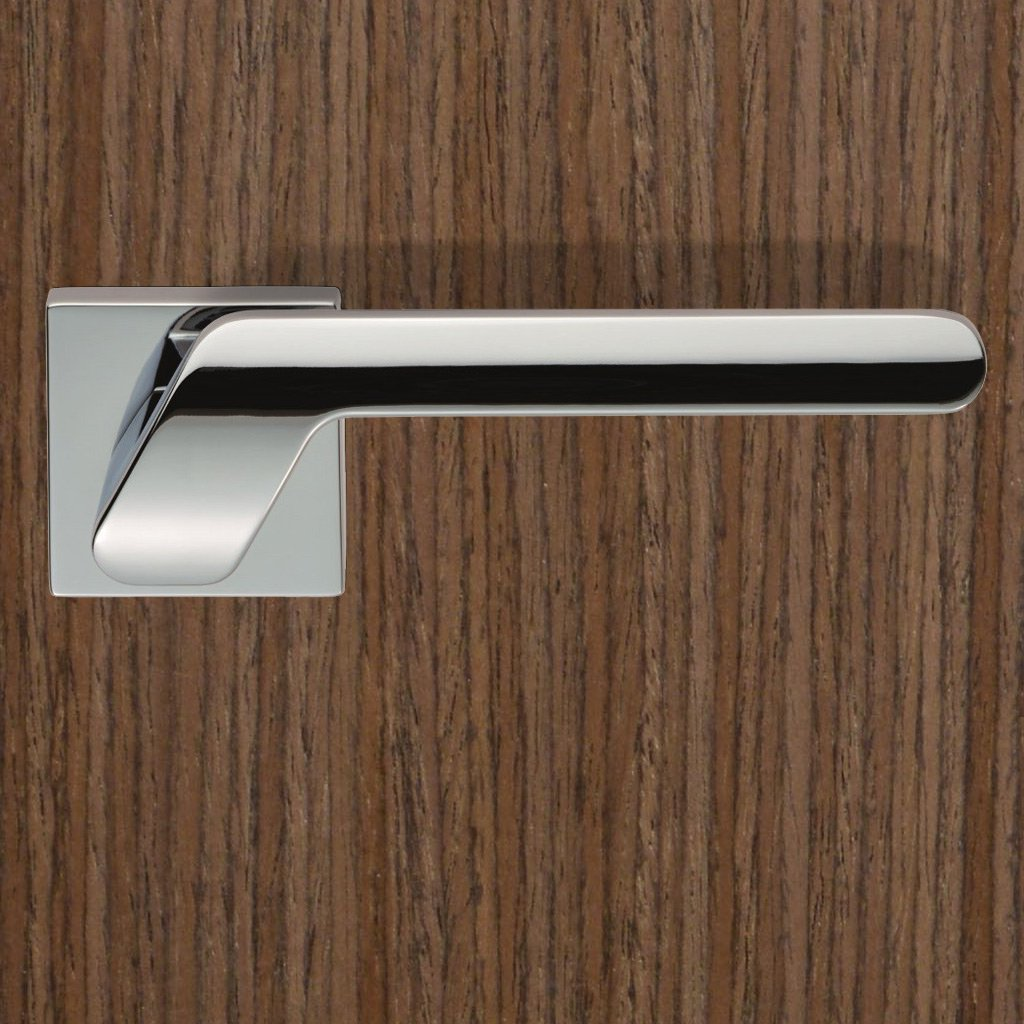 Satin Chrome Plated: European CEB010Q Mono Lever Latch Handles on Square Rose