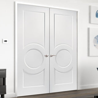 Image: Montpellier 3 Panel Fire Door Pair - 1/2 Hour Fire Rated - White Primed