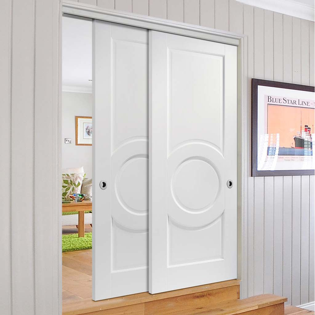 Two Sliding Doors and Frame Kit - Montpellier 3 Panel Door - White Primed