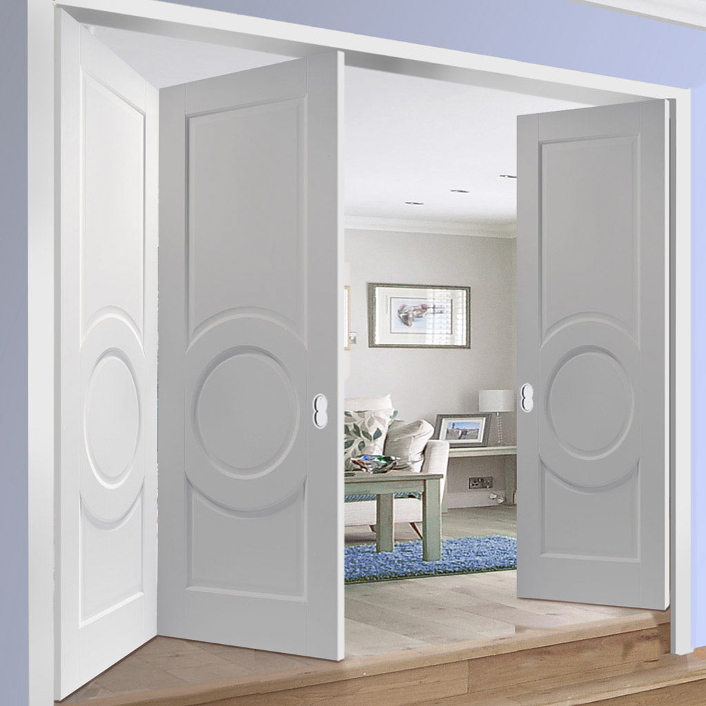 Three Folding Doors & Frame Kit - Montpellier 3 Panel 2+1 - White Primed