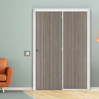 Image: ThruEasi Room Divider - Laminate Montreal Light Grey Prefinished Door with Single Side - 2018mm High - Multiple Widths