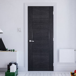 Image: Montreal Prefinished Dark Grey Ash Door from Deanta UK