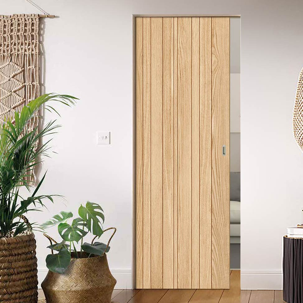 Montreal Oak Flush Internal Absolute Evokit Single Pocket Door - Prefinished
