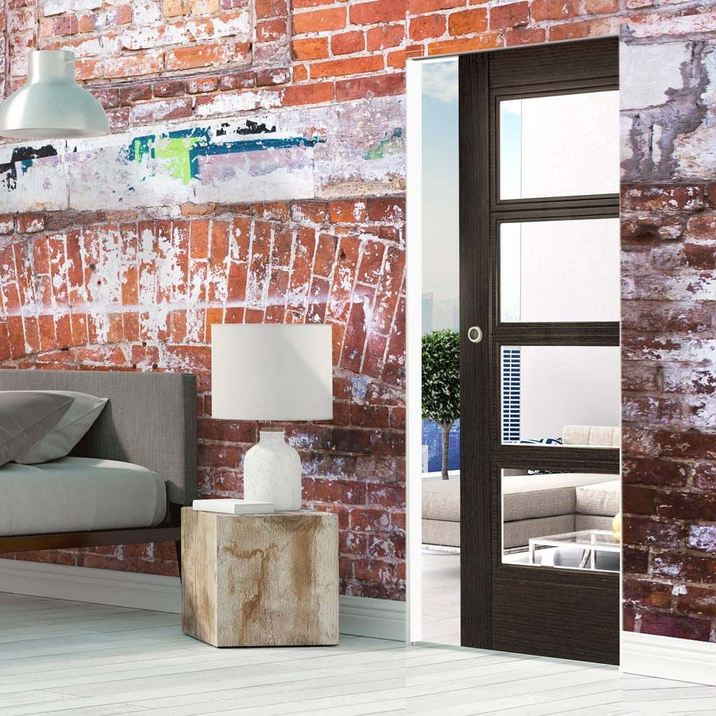 Montreal Dark Grey Ash Absolute Evokit Single Pocket Door - Clear Glass - Prefinished