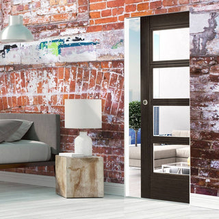 Image: Montreal Dark Grey Ash Absolute Evokit Single Pocket Door - Clear Glass - Prefinished