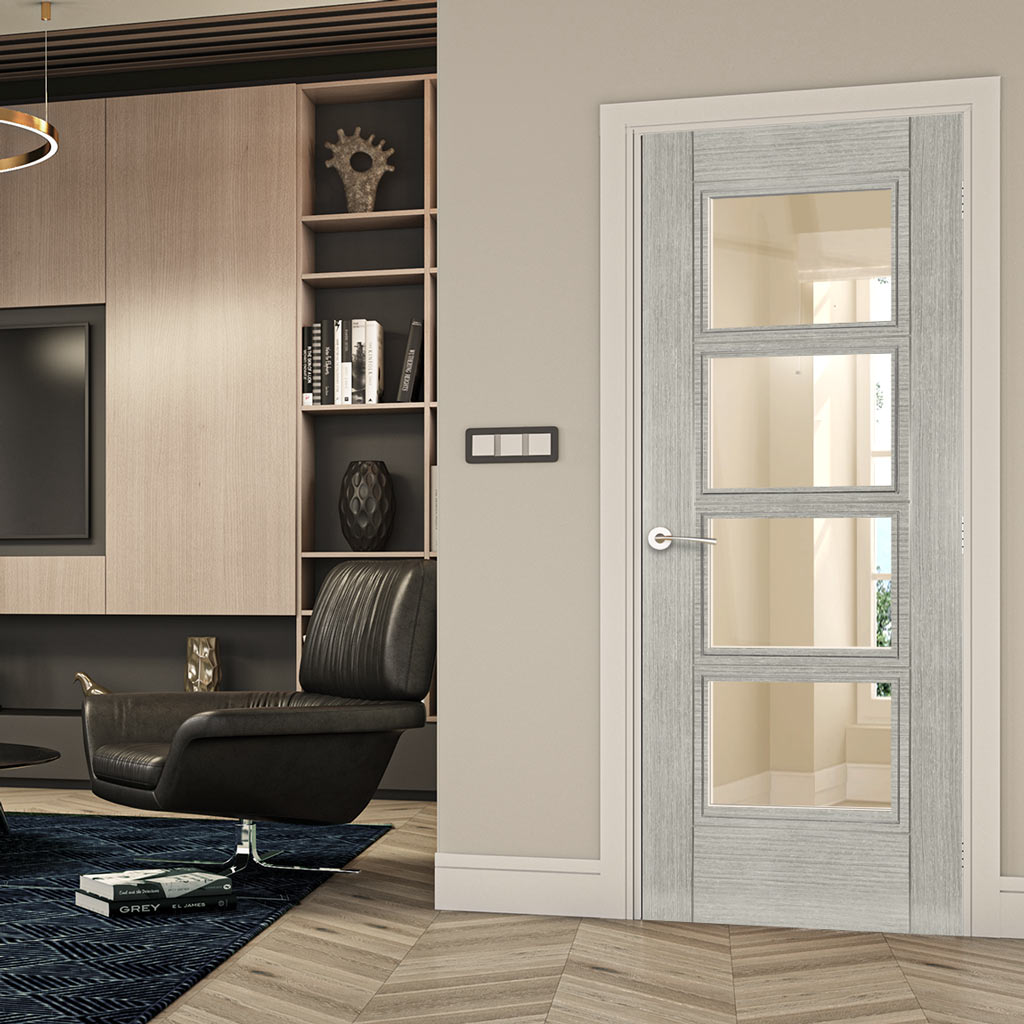 Bespoke Montreal Light Grey Ash Fire Door - Clear Glass - 1/2 Hour Fire Rated - Prefinished