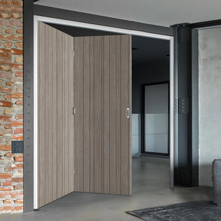 Image: Two Folding Doors & Frame Kit - Laminate Montreal Light Grey 2+0 - Prefinished