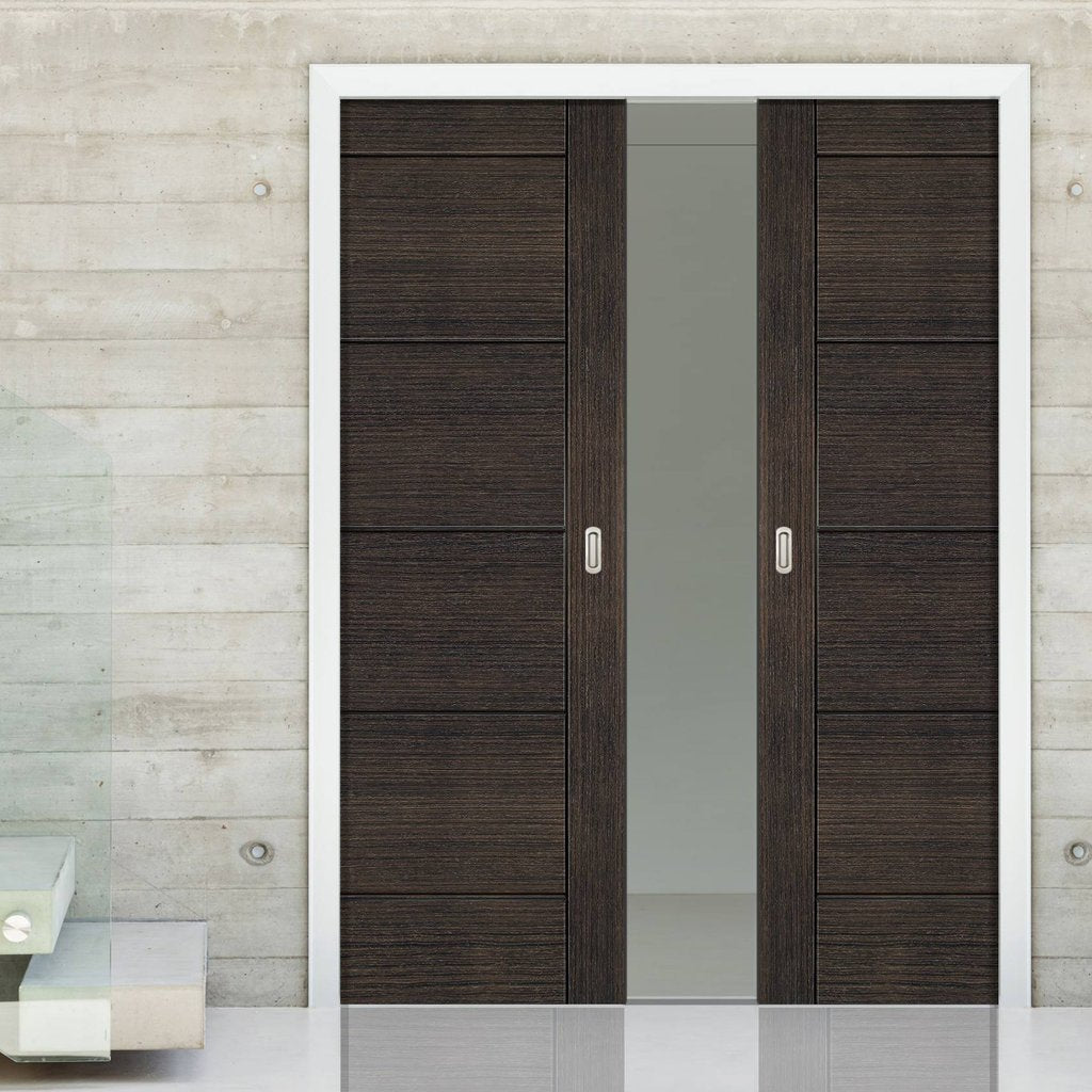 Montreal Dark Grey Ash Double Evokit Pocket Doors - Prefinished