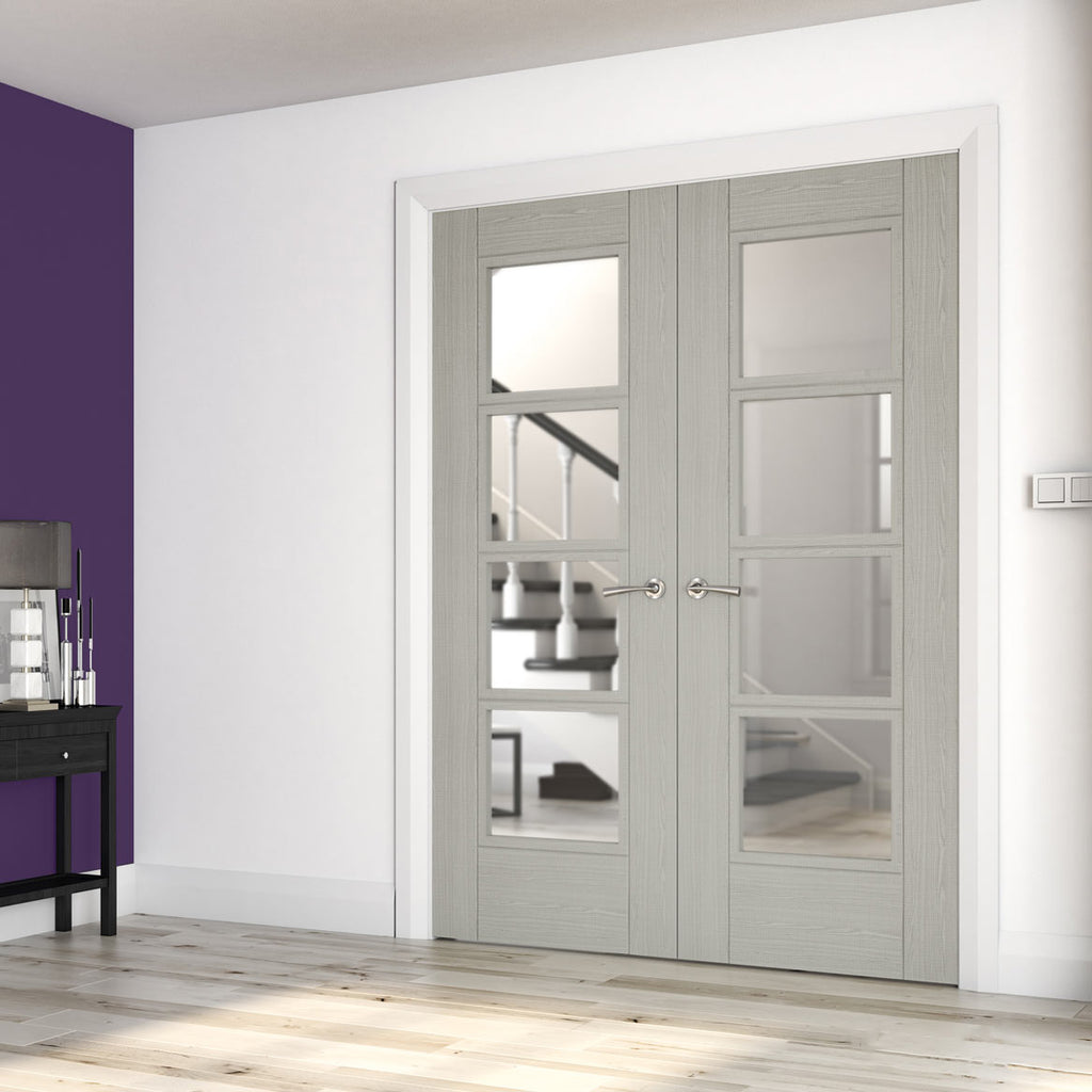 Montreal Light Grey Ash Door Pair - Clear Glass - Prefinished