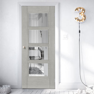Image: Montreal Light Grey Ash Fire Door - Clear Glass - 1/2 Hour Fire Rated - Prefinished