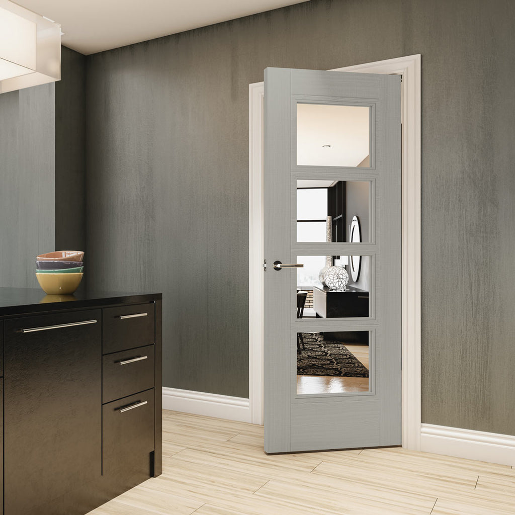 Montreal Prefinished Light Grey Ash Door - Clear Glass