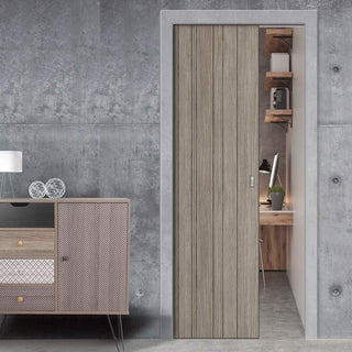 Image: Laminate Montreal Light Grey Single Evokit Pocket Door - Prefinished