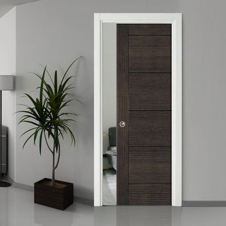 Image: Montreal Dark Grey Ash Single Evokit Pocket Door - Prefinished