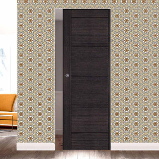 Image: Montreal Dark Grey Ash Absolute Evokit Single Pocket Door - Prefinished