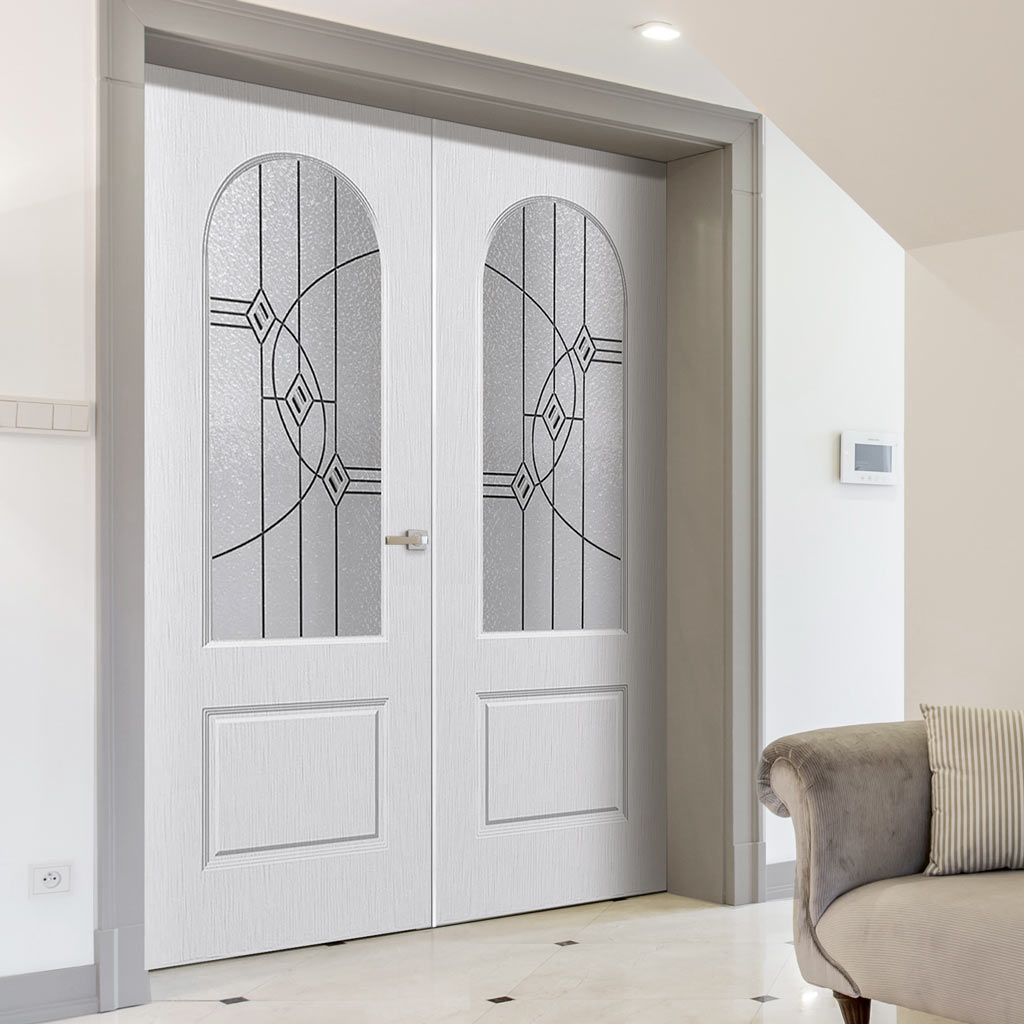 Arched Top Lightly Grained PVC Door Pair - Montrose Fusion 3 Bevel Style Glass