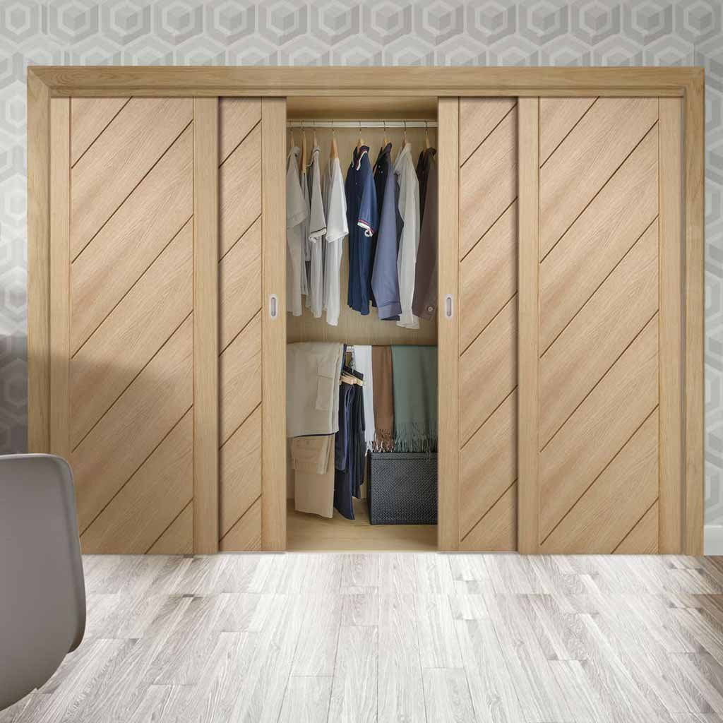Bespoke Thruslide Monza Oak 4 Door Wardrobe and Frame Kit