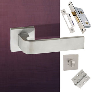 Image: Monza Forme Designer Bathroom Lever on Minimal Square Rose - Satin Chrome Handle Pack