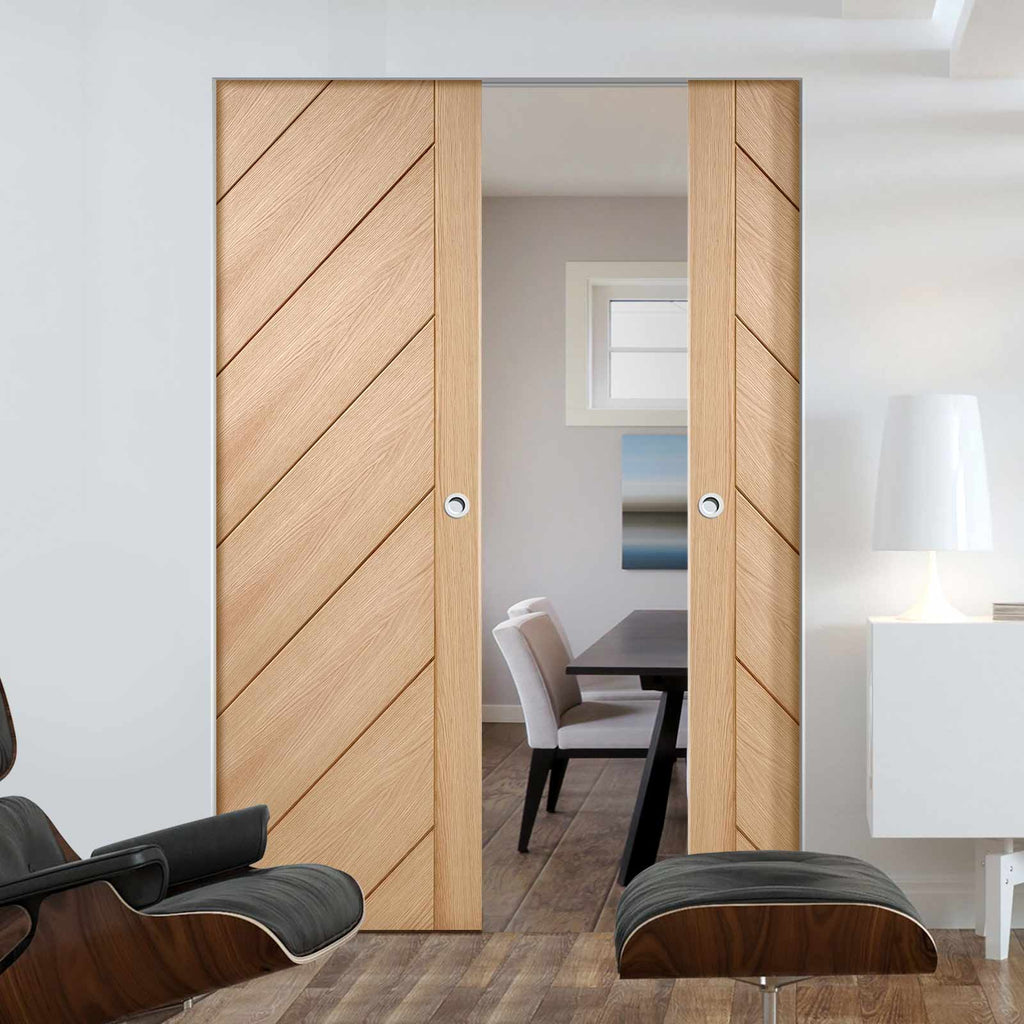 Monza Oak Flush Absolute Evokit Double Pocket Door