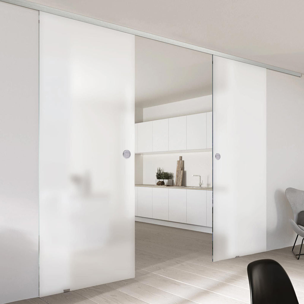 Double Glass Sliding Door - Moor 8mm Obscure Glass - Planeo 60 Pro Kit