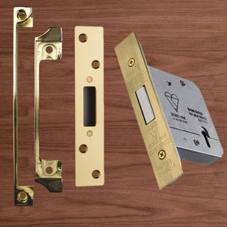 Image: Mortice Dead Lock & Rebate Set for Wooden Door Pair - 2 Sizes and 2 Finishes